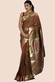 Picture of Art Kanjivaram Green & Maroon Two Tone Color Saree