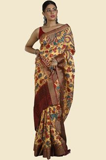 Picture of Yellow Colored Printed Art Silk Saree