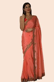 Picture of Peach Color Wedding Crepe Saree