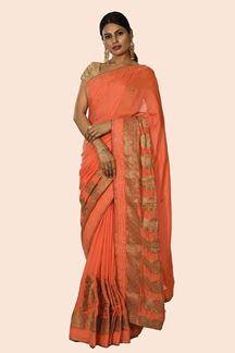 Picture of Mesmeric Dark Peach Colored banarasi Silk Saree