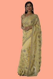Picture of Gorgeous lemon Yellow Colored Organza Saree