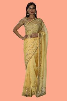 Picture of Elegant Yellow Colored Organza Saree