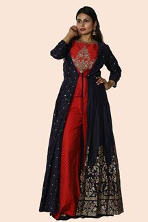 Picture of Gorgeous Red & Blue Colored Art Silk Jacket Palazzo Suit