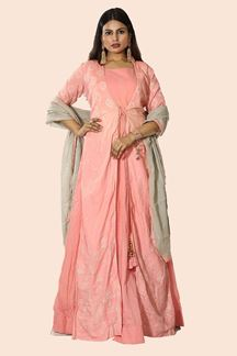 Picture of peach Color Jacket Style Anarkali Suit
