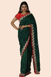 Picture of Radiant Green Colored Party Wear Dolla Silk Saree