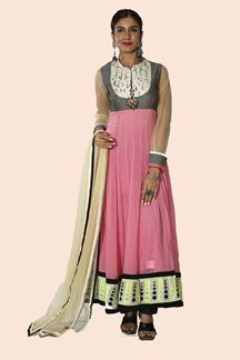 Picture of Glorious Pink Colored Net Anarkali Suit