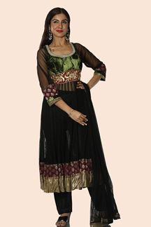 Picture of Black & Green Colored Anarkali Suit