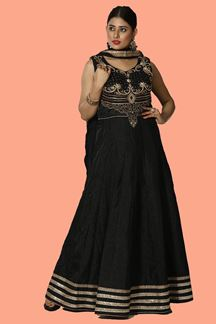 Picture of Imposing Black Colored Georgette Silk Anarkali Suit