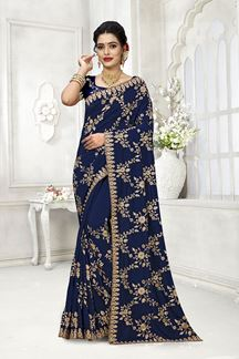 Picture of Glorious Blue Colored Party Wear Embroidered Satin-Georgette Saree