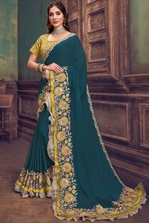 Picture of Teal Blue & Yellow Georgette Silk Designer Saree