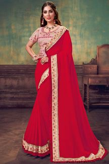 Picture of Red & Pink Colored Georgette Silk Designer Saree