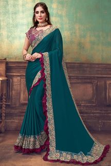 Picture of Turquoise Blue & Wine Colored Georgette Silk Designer Saree