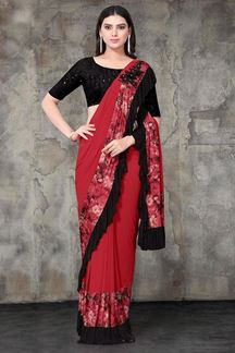 Picture of Red & Black Designer Lycra Ready To Wear Saree