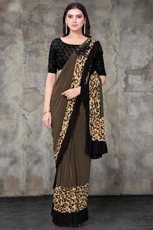 Picture of Brown & Black  Colored Designer Lycra Ready To Wear Saree