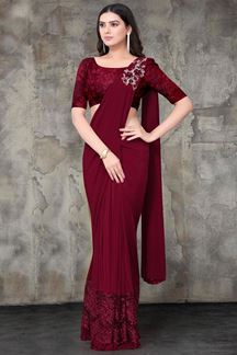 Picture of Maroon Color Designer Lycra Ready To Wear Saree