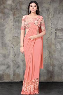Picture of Peach Colored Designer Lycra Ready To Wear Saree