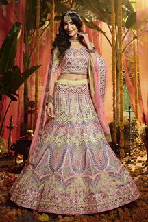 Picture of Captivating Off- White  Colored Wedding Wear Organza Lehenga Choli