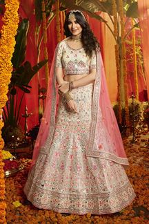 Picture of Arresting White Colored Party Wear Organza Lehenga Choli
