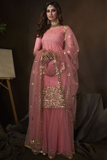 Picture of Pink Colored Embroidered Net Gharara Suit With Dupatta (Unstitched suit)