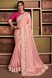 Picture of Sensational Pastel Pink Colored Silk Saree