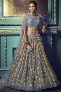 Picture of Stunning Grey colored lehenga choli