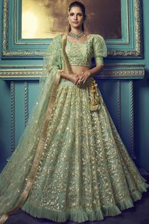 Picture of Stunning Green colored beautiful lehenga choli