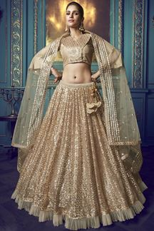 Picture of Stunning Dusky beige colored lehenga choli