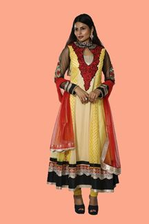 Picture of Attractive Yellow & Black Colored Partywear Anarkali Suit