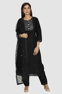 Picture of Alluring Black Colored Chanderi Silk  Straight Cut Suit