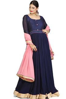 Picture of Attractive Navy Blue Colored Designer Anarkali Suit