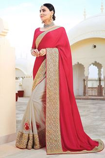 Picture of Subtle Pink-Beige Colored Designer Saree