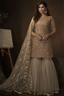Picture of Beige Colored Embroidered Net Gharara Suit With Dupatta (Unstitched suit)