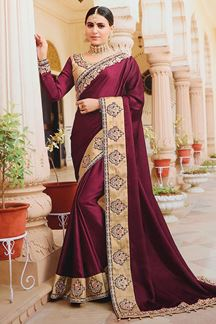 Picture of Royal Wine Colored Designer Saree