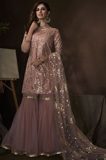 Picture of Purple Colored Embroidered Net Gharara Suit With Dupatta (Unstitched suit)