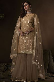Picture of Beige Colored Embroidered Net Gharara Suit (Unstitched suit)