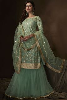 Picture of Green Colored Embroidered Net Gharara Suit With Dupatta (Unstitched suit)