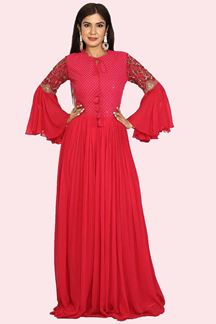 Picture of Beautiful Pink Colored Party Wear Georgette Gown
