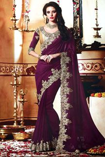 Picture of splendid Purple Colored Designer Saree