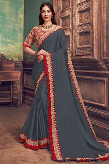 Picture of Grey & Red Colored Georgette Silk Designer Saree