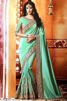 Picture of Showy Sea Green Colored Designer Saree