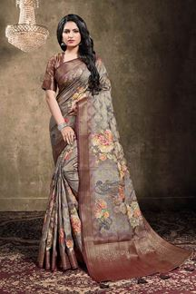 Picture of Dusty Grey Colored Georgette Jacquard Saree