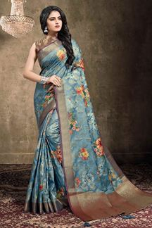 Picture of Steel Blue Colored Georgette Jacquard Saree