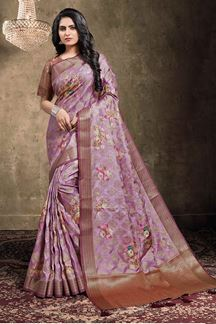 Picture of Lilac Pink Colored Georgette Jacquard Saree