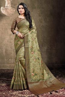 Picture of Dusty Green Colored Georgette Jacquard Saree
