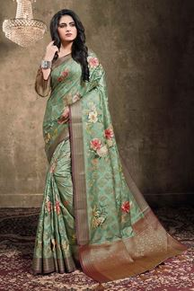 Picture of Mint Green Colored  Georgette Jacquard Saree
