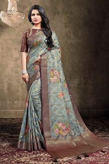Picture of Steel Grey Colored Georgette Jacquard Saree