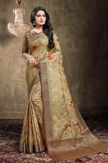 Picture of Dusty Gold Colored Georgette Jacquard Saree
