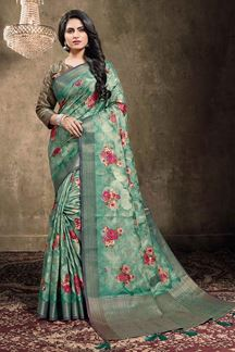 Picture of Rama Green Colored Georgette Jacquard Saree