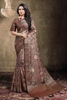 Picture of Chocolate Brown Colored Georgette Jacquard Saree