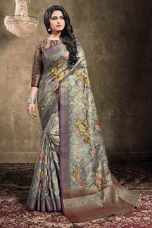 Picture of Slate Grey Colored Georgette Jacquard Saree